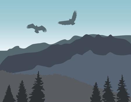 ilustración vectorial de paisaje de montañas y animales salvajes