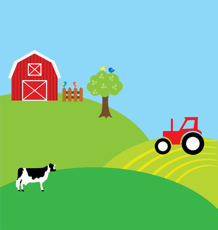 breeder: vector illustration of farm landscape background with barn, cow, tractor, birds Illustration