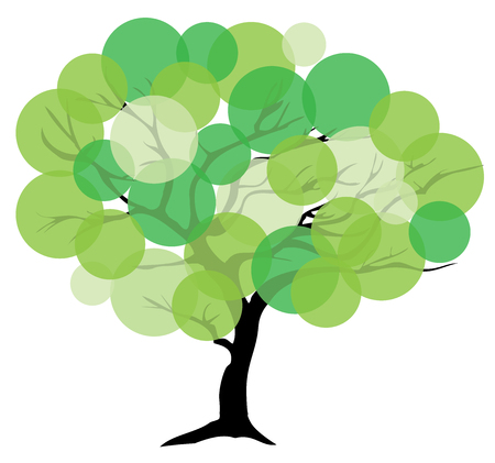 vector illustration of an abstract tree with green circles Ilustração