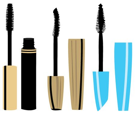 vector illustration of mascara make up set