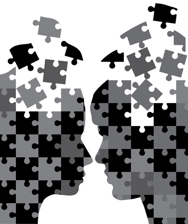 od: vector illustration od man and woman head silhouettes puzzles Illustration