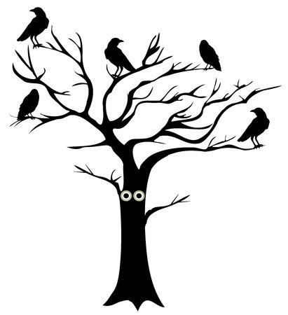 illustrazione vettoriale di un albero di divertimento con gli occhi e corvi