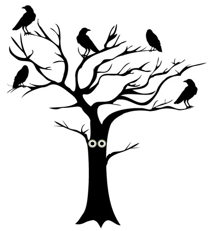 vector illustration of a fun tree with eyes and crows Illustration