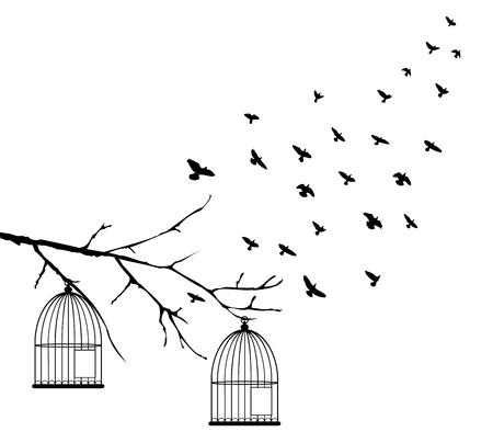 illustration vectorielle du vol des oiseaux et des cages d'oiseaux dans l'arbre