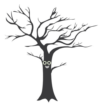 vector illustration of a fun tree with eyes Illustration