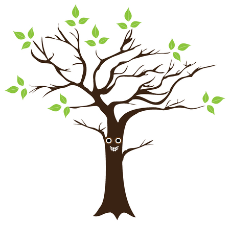 vector illustration of a fun smiling tree with eyes and green leaves