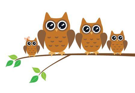 vector illustration of fun owl birds background