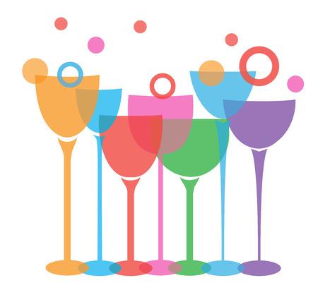 ilustración vectorial de vasos de vino aislado en el fondo blanco