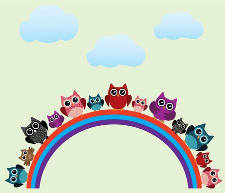 vector illustration of fun owls sitting on the rainbow and clouds