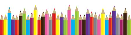 writing instrument: vector illustration of raw of colorful pencils