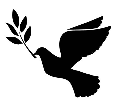 illustration of a dove flying silhouette Vettoriali