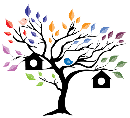 free clip art: illustration of a tree with bird houses