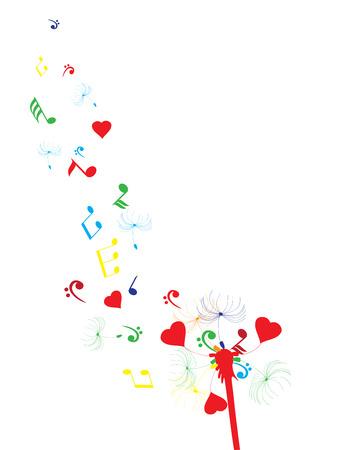 dandelion flower: illustration of a dandelion flower with musical notes and hearts Illustration