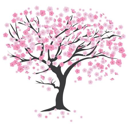 ilustracja drzewa wiśni w kwiat