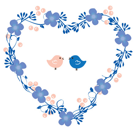 floral heart: illustration of floral heart wreath with birds Illustration