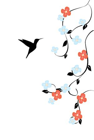 vector illustration of a floral card with hummingbird
