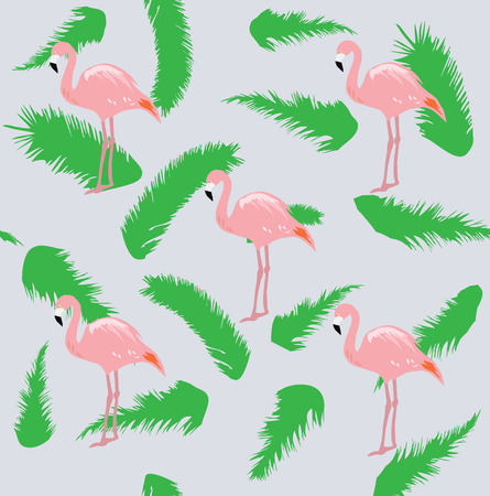 stroll: vector illustration of flamingo birds silhouettes