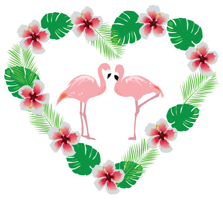 vector illustration of flamingo with tropical flowers in a heart shape