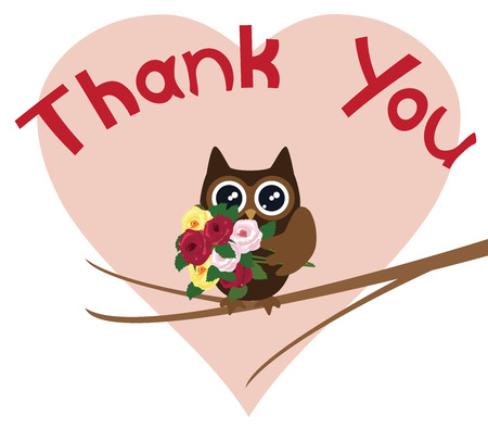 you are special: vector illustration of a thank you card with owl Illustration