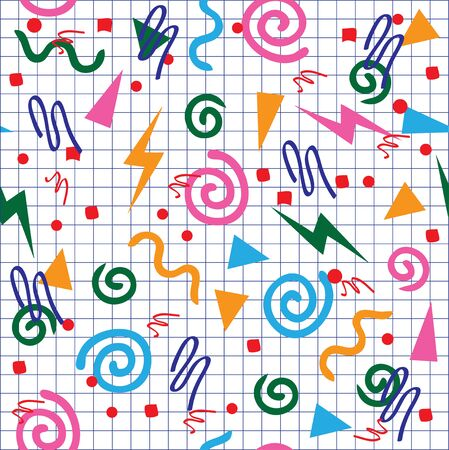 90s: vector seamless 80s or 90s background