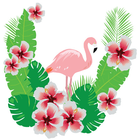 couple in summer: vector illustration of flamingo with tropical flowers