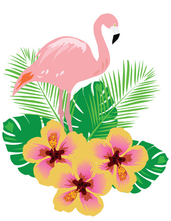 beautiful red hibiscus flower: vector illustration of a flamingo with tropical flowers Illustration