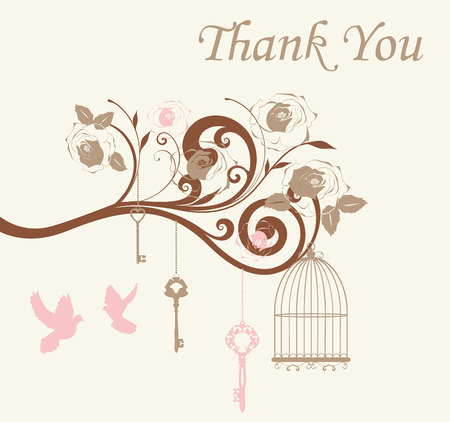 vector illustration of thank you card with cages and doves Stok Fotoğraf - 58816144