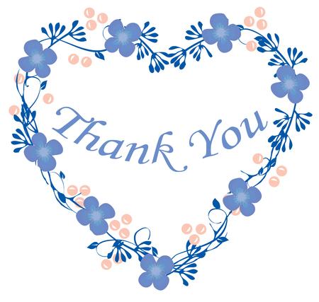 vector illustration of thank you card floral frame Ilustração