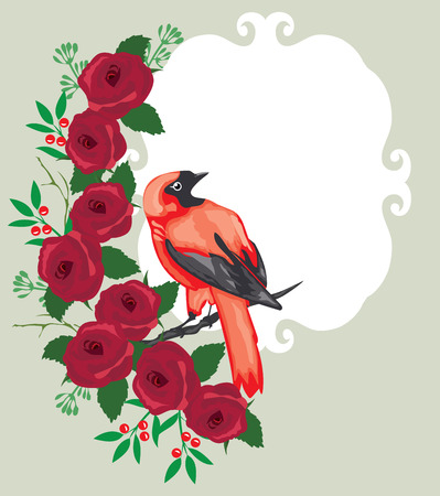 vector illustration of floral frame with bird