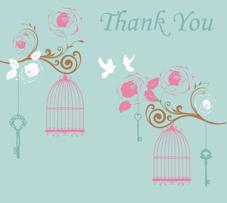 afecto: vector illustration of thank you card with birds and cages