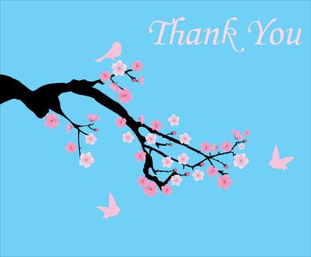 cherry tree: vector thank you card with cherry blossom branch Illustration