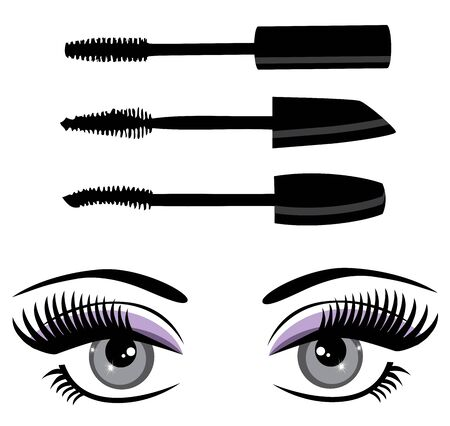 vector illustration of mascara and eyes with long lashes Illusztráció