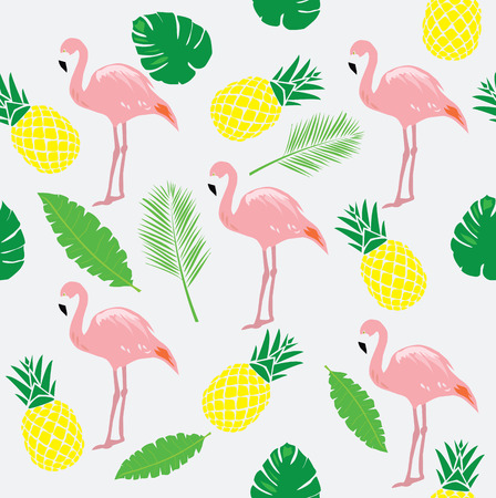 vector illustration of flamingos with pineapples, palm tree leaves
