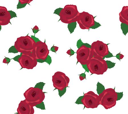 dessin au trait: illustration vectorielle de roses seamless background