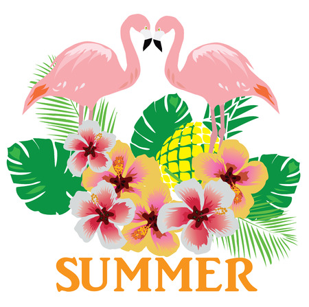 vector illustration of flamingos summer background with flowers