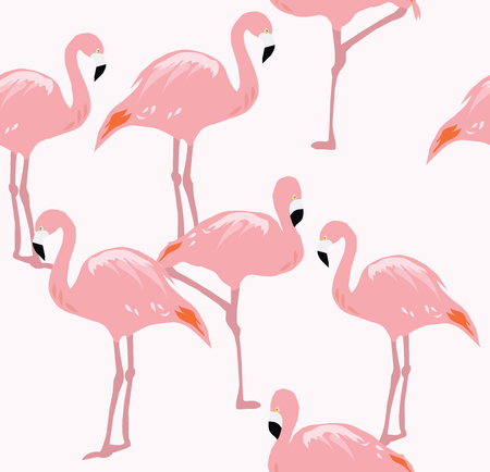 vector illustration of flamingos silhouettes seamless background