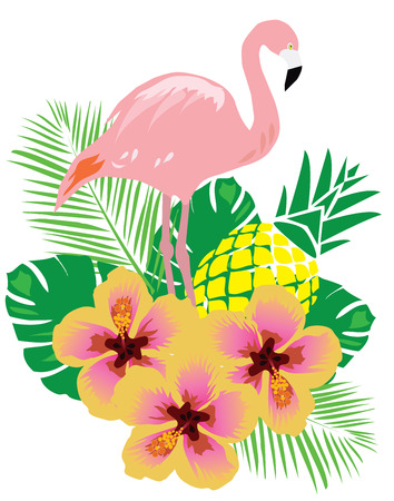 stroll: vector illustration of flamingos background with flowers Illustration