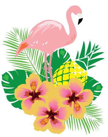 vector illustration of flamingos background with flowers Çizim