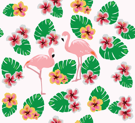 red rose: vector illustration of flamingos background with flowers Illustration