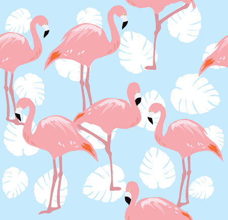red sunset: vector illustration of seamless background with flamingos and palm leaves Illustration
