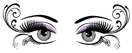 lashes: vector illustration of vintage eyes with long lashes