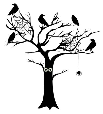 spooky tree: vector illustration of a spooky tree with crows and spider webs