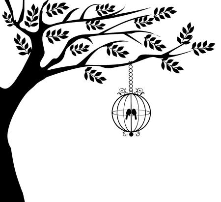 ilustración vectorial de la jaula de pájaro de la vendimia con las aves y los árboles