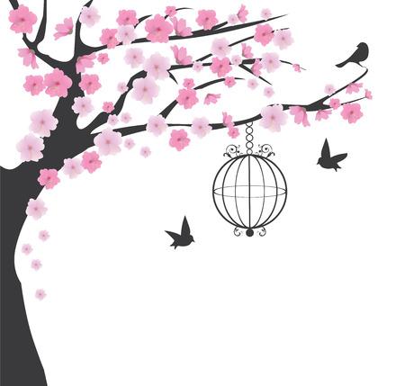 arbol de cerezo: ilustración vectorial de la jaula de pájaro de la vendimia y cerezo