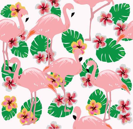 vector illustration of flamingos seamless background with palm leaves