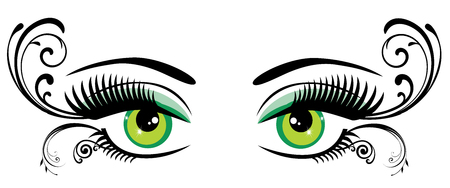 clarity: vector illustration of eyes with long lashes and swirls Illustration