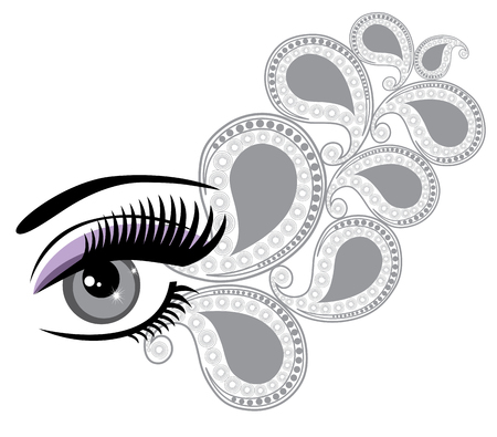 clarity: vector illustration of an eye with floral swilrs