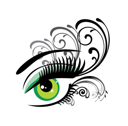 green eye: vector illustration of a green eye with swirls