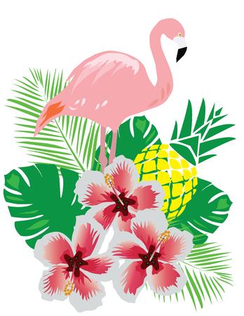 熱帯の花とパイナップルのフラミンゴのベクトル イラスト  イラスト・ベクター素材