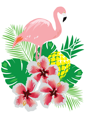 vector illustration of a flamingo with tropical flowers and pineapple Vettoriali